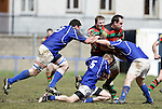 21.04.12<br /> Action from Fitzgerald Park Limerick, Thomond V Highfield. Highfield's Dave Kelly in action against Thomond's Dave Foley, Gary O'Donnell and Leonard Slattery. Picture: Alan Place/Press 22.