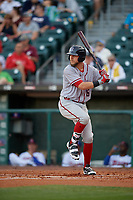 Syracuse Chiefs first baseman Matt Skole (16) bats during a game against the Buffalo Bisons on June 30, 2017 at Coca-Cola Field in Buffalo, New York.  Syracuse defeated Buffalo 8-1.  (Mike Janes/Four Seam Images)