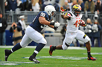 01 November 2014:  Maryland RB Brandon Ross (45) tries to turn the corner on Penn State DT Austin Johnson (99). The Maryland Terrapins defeated the Penn State Nittany Lions 20-19 at Beaver Stadium in State College, PA.