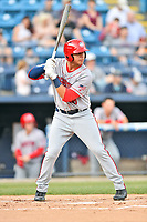 Hagerstown Suns designated hitter Pablo O'Connor (28) awaits a pitch during a game against the Asheville Tourists at McCormick Field on April 30, 2019 in Asheville, North Carolina. The Tourists defeated the Suns 5-4. (Tony Farlow/Four Seam Images)