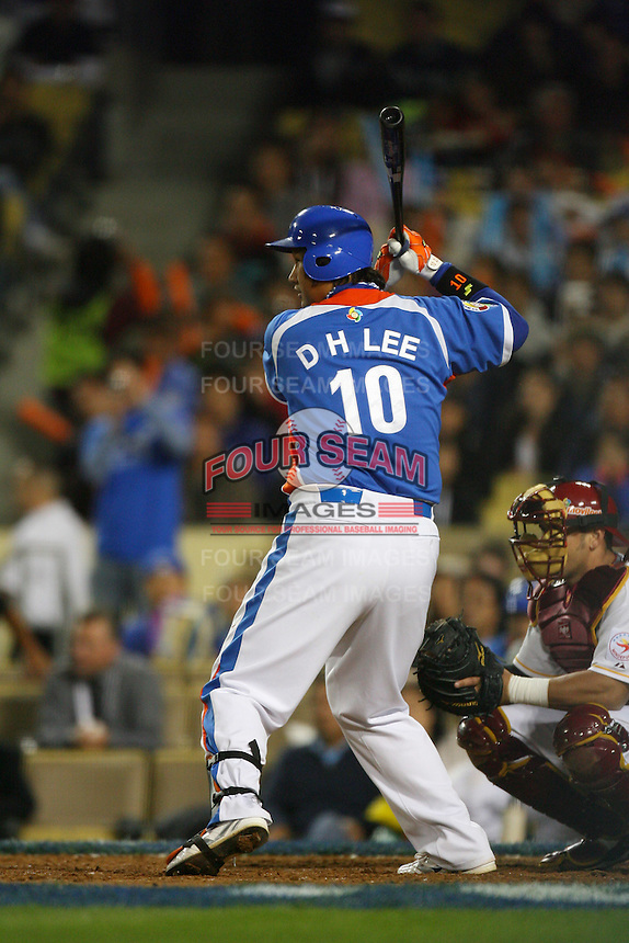 Dae Ho Lee of Korea during a game against Venezuela at the World Baseball Classic at Dodger Stadium on March 21, 2009 in Los Angeles, California. (Larry Goren/Four Seam Images)