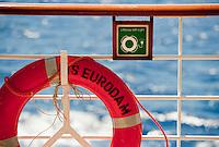 Closeup of a life preserver ring  on the m.s. Eurodam.