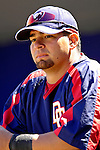 17 March 2007: Washington Nationals catcher Jesus Flores waits to take the field prior to a game against the New York Mets at Tradition Field in Port St. Lucie, Florida...Mandatory Photo Credit: Ed Wolfstein Photo