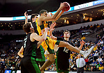 SIOUX FALLS, SD - MARCH 10: Tyson Ward #24 of the North Dakota State Bison pulls in a rebound among a host of defenses from North Dakota Fighting Hawks during the men's championship game at the 2020 Summit League Basketball Tournament in Sioux Falls, SD. (Photo by Dave Eggen/Inertia)