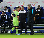 Manchester City's Sergio Aguero gets substituted by Manuel Pellegrini<br /> <br /> Barclays Premier League- Leicester City vs Manchester City - King Power Stadium - England - 29th December 2015 - Picture - David Klein/Sportimage