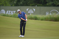 Aaron Wise (USA) chips on to 14 during the round 1 of the AT&T Byron Nelson, Trinity Forest Golf Club, Dallas, Texas, USA. 5/9/2019.<br /> Picture: Golffile | Ken Murray<br /> <br /> <br /> All photo usage must carry mandatory copyright credit (© Golffile | Ken Murray)