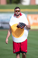 Scottsdale Scorpions pitcher Jake Ehret (81), of the Cincinnati Reds organization, warms up in his Halloween costume prior to an Arizona Fall League game against the Glendale Desert Dogs on October 31, 2017 at Scottsdale Stadium in Scottsdale, Arizona. The Scorpions defeated the Desert Dogs 6-2. (Zachary Lucy/Four Seam Images)