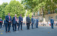Picture by Allan McKenzie/SWpix.com - 25/08/2017 - Rugby League - Commemorative wreath laying ceremony - The Cenotaph, London, England - RFL dignitaries and players line up for the ceremony at the Cenotaph.