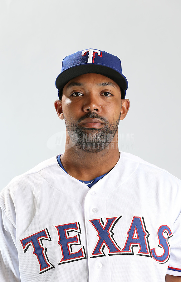 Feb. 20, 2013; Surprise, AZ, USA: Texas Rangers outfielder Joey Butler poses for a portrait during photo day at Surprise Stadium. Mandatory Credit: Mark J. Rebilas-