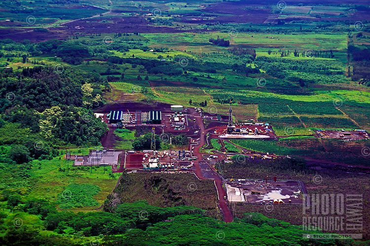 Aerial view of the HGPA geo-thermal well site at Puna, Hawaii.