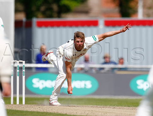 23.05.2016. Old Trafford, Manchester, England. Supersavers County Championship. Lancashire versus Surrey. Surrey bowler Stuart Meaker bowls during the morning session.