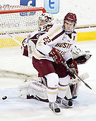 Kevin Boyle (UMass - 33), Paul Carey (BC - 22) - The Boston College Eagles defeated the visiting University of Massachusetts-Amherst Minutemen 2-1 in the opening game of their 2012 Hockey East quarterfinal matchup on Friday, March 9, 2012, at Kelley Rink at Conte Forum in Chestnut Hill, Massachusetts.