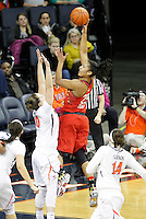Maryland forward Alyssa Thomas (25) shoots over Virginia guard Kelsey Wolfe (10) during the game Thursday in Charlottesville, VA. Photo/The Daily Progress/Andrew Shurtleff