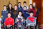 Oisin Malone-Walker, Tara Jones, William Casey. Back row: Killian French, Delia Foley, Laura Hickey, Kasper Mocarski, Andrew Moynihan, Leah Murphy, Ciara Hickey and Miriam dineen at the Rathmore GAA awards night in the Killarney Avenue Hotel on Friday night