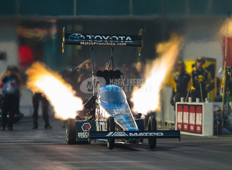 Mar 15, 2019; Gainesville, FL, USA; NHRA top fuel driver Antron Brown during qualifying for the Gatornationals at Gainesville Raceway. Mandatory Credit: Mark J. Rebilas-USA TODAY Sports