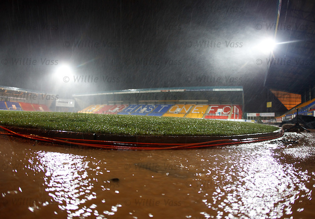Torrential rain and storms in Perth as the groundstaff prepare for the referee to inspect the park ahead of tonight's St Johnstone v Aberdeen match