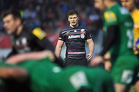 Owen Farrell of Saracens watches a scrum. Aviva Premiership match, between Saracens and London Irish on January 3, 2015 at Allianz Park in London, England. Photo by: Patrick Khachfe / JMP