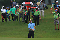 Tyrrell Hatton (Europe) on the 3rd during the Saturday Foursomes of the Eurasia Cup at Glenmarie Golf and Country Club on the 13th January 2018.<br /> Picture:  Thos Caffrey / www.golffile.ie