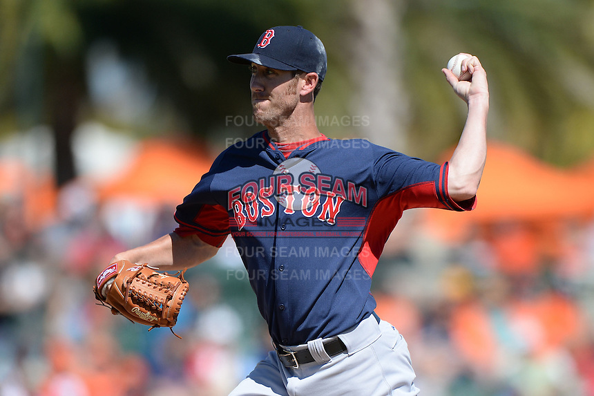 Boston Red Sox pitcher Tommy Layne (59) during a spring training game against the Baltimore Orioles on March 8, 2014 at Ed Smith Stadium in Sarasota, Florida.  Baltimore defeated Boston 7-3.  (Mike Janes/Four Seam Images)