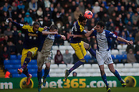 Saturday 25 January 2014<br /> Pictured: Chico Flores of Swansea tries to head the ball into the box <br /> Re: Birmingham City v Swansea City FA Cup fourth round match at St. Andrew's Birimingham