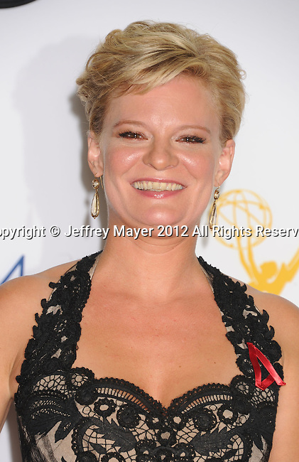 LOS ANGELES, CA - SEPTEMBER 23: Martha Plimpton  poses in the press room at the 64th Primetime Emmy Awards held at Nokia Theatre L.A. Live on September 23, 2012 in Los Angeles, California.
