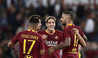 Football, Serie A: AS Roma - Frosinone, Olympic stadium, Rome, 26 September 2018. <br /> Roma's Aleksandar Kolarov (r) celebrates after scoring with his teammates during the Italian Serie A football match between AS Roma and Frosinone at Olympic stadium in Rome, on September 26, 2018.<br /> UPDATE IMAGES PRESS/Isabella Bonotto