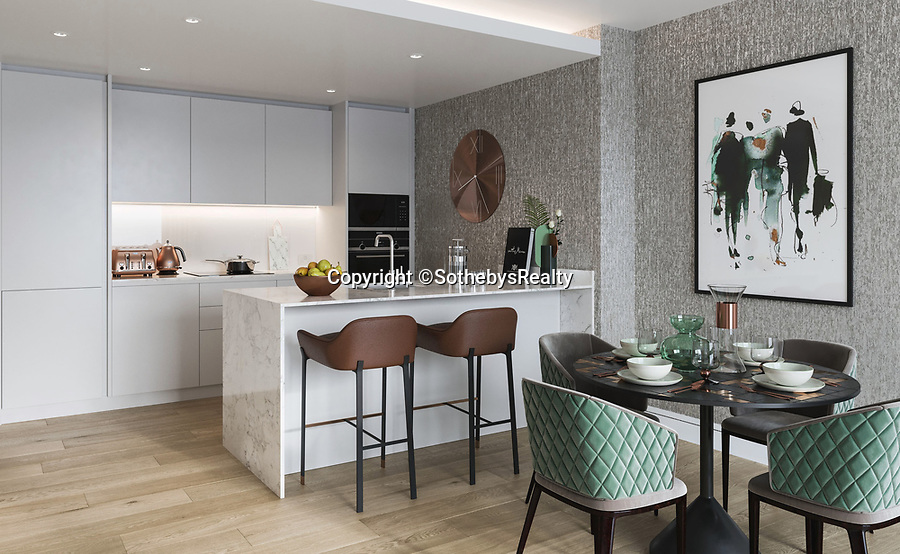 BNPS.co.uk (01202 558833)<br /> Pic: SothebysRealty/BNPS<br /> <br /> Kitchen/diner. <br /> <br /> Is this the best view in London ...<br /> <br /> A stunning apartment offering a breathtaking panorama of the nation's capital has emerged for sale for £900,000.<br /> <br /> The stylish one bedroom flat is located on the 43rd floor of the new-build 704ft Valiant Tower in South Quay Plaza in Canary Wharf.<br /> <br /> It overlooks Greenwich and the River Thames, with London's major landmarks on display.<br /> <br /> The building has a rooftop terrace, a swimming pool and a gym, and is surrounded by waterside gardens.<br /> <br /> The flat is being sold with estate agent Sotheby's International Realty.