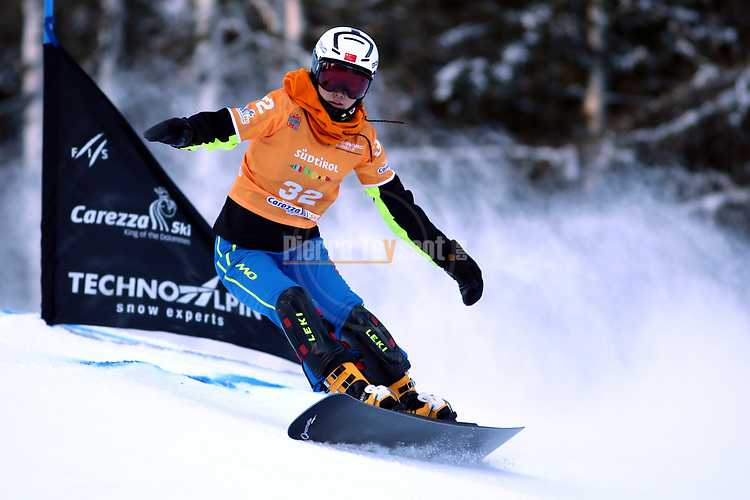 SNOWBOARD WORLD CUP 2018 FIS in Carezza, on December 14, 2017; Parallel Giant Slalom; Ruxin Zang (CHN)