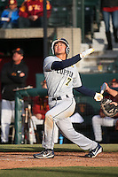 Caleb Duhay #7 of the Coppin State Eagles bats during a game against the Southern California Trojans at Dedeaux Field on February 18, 2017 in Los Angeles, California. Southern California defeated Coppin State, 22-2. (Larry Goren/Four Seam Images)