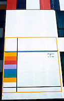 Los Angeles: Le Mondrian Hotel. Painting by Yaacov Agam.  Photo '85.