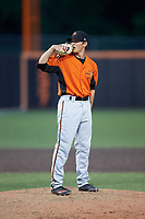 Frederick Keys relief pitcher Tyler Erwin (47) looks to his catcher for the sign against the Buies Creek Astros at Jim Perry Stadium on April 28, 2018 in Buies Creek, North Carolina. The Astros defeated the Keys 9-4.  (Brian Westerholt/Four Seam Images)