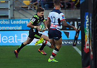 Beauden Barrett scores during the Super Rugby match between the Hurricanes and Rebels at Westpac Stadium in Wellington, New Zealand on Saturday, 4 May 2019. Photo: Dave Lintott / lintottphoto.co.nz