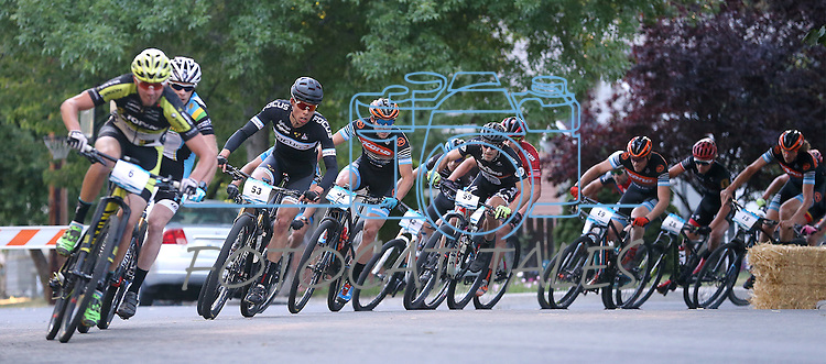 Riders participate in the Epic Rides Carson City Off-Road men's Pro Criterium in Carson City, Nev., on Friday, June 17, 2016.<br />