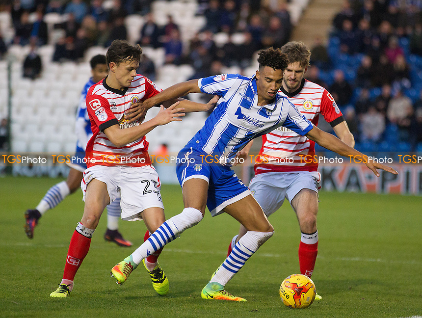 \co28' holds the ball up under pressure from Perry Ng of Crewe Alexandra and Jon Guthrie of Crewe Alexandra during Colchester United vs Crewe Alexandra, Sky Bet EFL League 2 Football at the Weston Homes Community Stadium on 26th November 2016