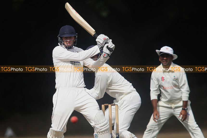 J Austin of Colchester hits out during Wanstead and Snaresbrook CC vs Colchester and East Essex CC, Shepherd Neame Essex League Cricket at Overton Drive on 1st September 2016