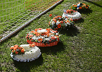 Wreaths lie behind the goal<br /> <br /> Photographer Kevin Barnes/CameraSport<br /> <br /> The EFL Sky Bet League One - Blackpool v Southend United - Saturday 9th March 2019 - Bloomfield Road - Blackpool<br /> <br /> World Copyright © 2019 CameraSport. All rights reserved. 43 Linden Ave. Countesthorpe. Leicester. England. LE8 5PG - Tel: +44 (0) 116 277 4147 - admin@camerasport.com - www.camerasport.com