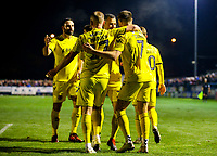 Fleetwood Town's Wes Burns celebrates scoring his side's second goal with teammates<br /> <br /> Photographer Alex Dodd/CameraSport<br /> <br /> The Emirates FA Cup Second Round - Guiseley v Fleetwood Town - Monday 3rd December 2018 - Nethermoor Park - Guiseley<br />  <br /> World Copyright © 2018 CameraSport. All rights reserved. 43 Linden Ave. Countesthorpe. Leicester. England. LE8 5PG - Tel: +44 (0) 116 277 4147 - admin@camerasport.com - www.camerasport.com