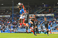 David Stockdale of Birmingham City saves from Ellis Harrison of Portsmouth during Portsmouth vs Birmingham City, Caraboa Cup Football at Fratton Park on 6th August 2019