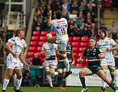 30th September 2017, Welford Road, Leicester, England; Aviva Premiership rugby, Leicester Tigers versus Exeter Chiefs;  Phil Dollman goes arial for the high ball