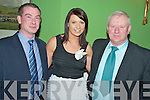 Enjoying the Kiskeam GAA social in the Dromhall Hotel, Killarney on Saturday night were Bernard Breen, Aoife Guerin and John Angland..
