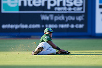 Daytona Tortugas left fielder Malik Collymore (4) makes a sliding catch during a game against the St. Lucie Mets on August 3, 2018 at First Data Field in Port St. Lucie, Florida.  Daytona defeated St. Lucie 3-2.  (Mike Janes/Four Seam Images)