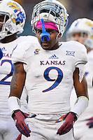Kansas wide receiver Nigel King (9) during NCAA football game, Saturday, November 01, 2014 in Waco, Tex. Baylor defeated Kansas 60-14. (Mo Khursheed/TFV Media via AP Images)