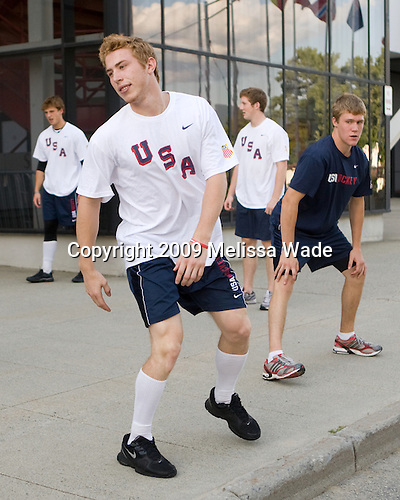 Vinny Saponari (US - 10), Jake Gardiner (US - 8) (Fowler, Kristo) - Team USA warms up outside the rinks prior to their third game against Team Russia during the 2009 USA Hockey National Junior Evaluation Camp on Friday, August 14, 2009, in Lake Placid, New York.