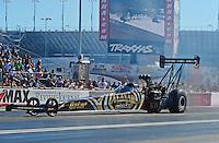 Oct. 28, 2012; Las Vegas, NV, USA: NHRA top fuel dragster driver Khalid Albalooshi during the Big O Tires Nationals at The Strip in Las Vegas. Mandatory Credit: Mark J. Rebilas-