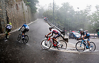 the breakaway group racing up Il Piccolo Stelvio in torrential rains at Grande Trittico Lombardo 2020 (1.Pro/ITA)<br /> 1 day race from Legnano to Varese (200km)
