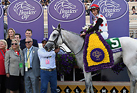DEL MAR, CA - NOVEMBER 04: John Velazquez, aboard World Approval #5 poses in the winner's circle after winning the Breeders' Cup Mile race on Day 2 of the 2017 Breeders' Cup World Championships at Del Mar Racing Club on November 4, 2017 in Del Mar, California. (Photo by Bob Mayberger/Eclipse Sportswire/Breeders Cup)