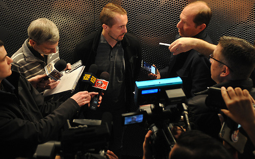 Jaroslav Halak speaks with the media after New York Islanders player exit interviews at Northwell Health Ice Center in East Meadow on Sunday, April 8, 2018.