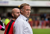 Mark Yates Manager of Crawley Town during the Sky Bet League 2 match between Crawley Town and Wycombe Wanderers at Checkatrade.com Stadium, Crawley, England on 29 August 2015. Photo by Liam McAvoy.