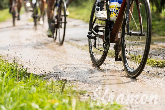 rain made for gravel sections to become mud sections<br /> <br /> Dwars door het Hageland (1.1)<br /> 1 Day Race: Aarschot &gt; Diest (194km)