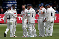 Jamie Porter of Essex celebrates with his team mates after taking the wicket of Will Fraine during Essex CCC vs Yorkshire CCC, Specsavers County Championship Division 1 Cricket at The Cloudfm County Ground on 7th July 2019